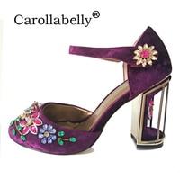2017 New Spring Summer Woman Rhinestone High Heels Shoes Wedding Shoes Bridal Red Purple Lace Platform