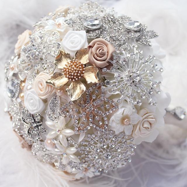 8 inch, custom champagne Cream silk roses bridal bouquet, brooch ...