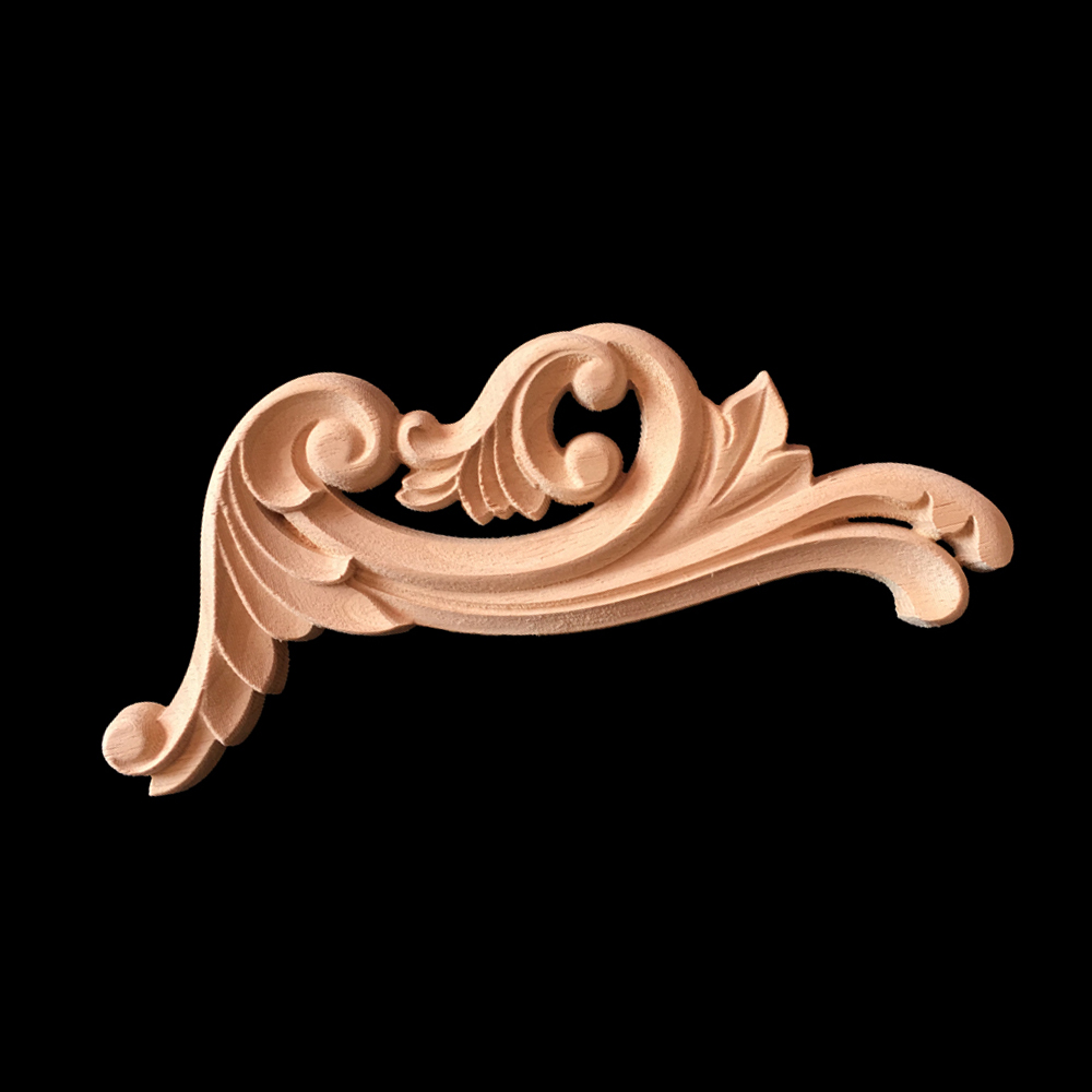 Kawaii Carving Natural Wood Appliques for Furniture Cabinet Unpainted Wooden Mouldings Decal Decorative Figurines Craft
