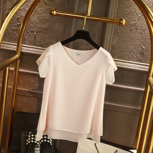 100% Original Women Chiffon Shirt 2019 Summer Short sleeve V-neck Blouse Casual 9 Solid color Loose Oversized Lady Tops 10