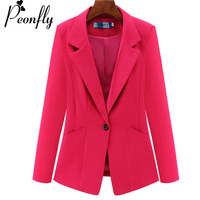 PEONFLY Plus Size 4XL Womens Business Suits Autumn All match women Blazers Jackets Short Slim long sleeve Blazer Women Suit