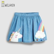 Welaken ropa de bebé niñas unicornio Arco Iris impreso falda de mezclilla para Niñas Ropa de niños niño Outwear tutú faldas