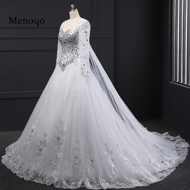 Crystal Design 2016 Wedding Dresses: Aliexpress.com : Buy Ball Gown Long Sleeve Beaded Crystal
