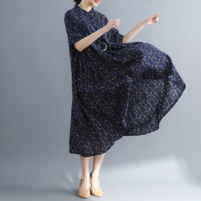 Ladys Fashion Plus Size Cotton&Linen Big pocket Jumper Plaid Casual Dress Summer Lagenlook Short Sleeve Checkered Tunic Dress 1