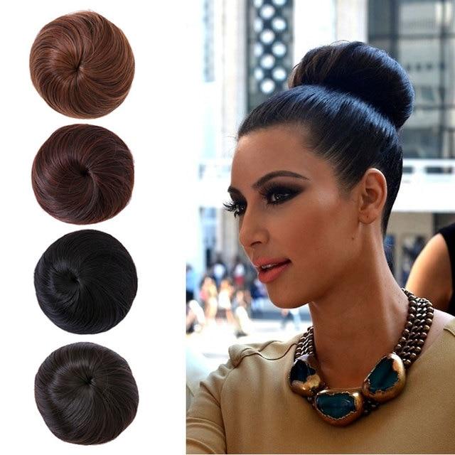 1pc Hair Bun Chignon Extension Hairpieces Bride Ring Dount Synthetic Natural Curly Clip
