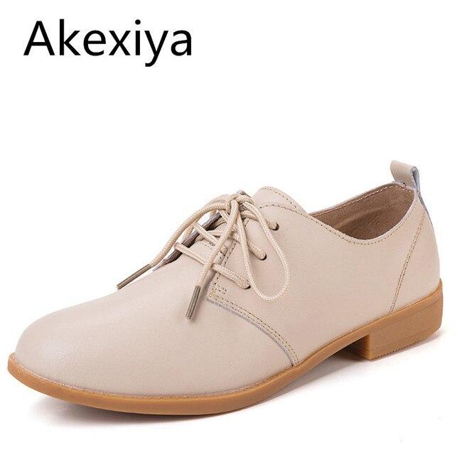 Akexiya Frauen Oxfords Ballerina Wohnungen Echtes Leder Lace Up Mokassins  Damen Freizeitschuhe Weiß Schwarz Beige Braun