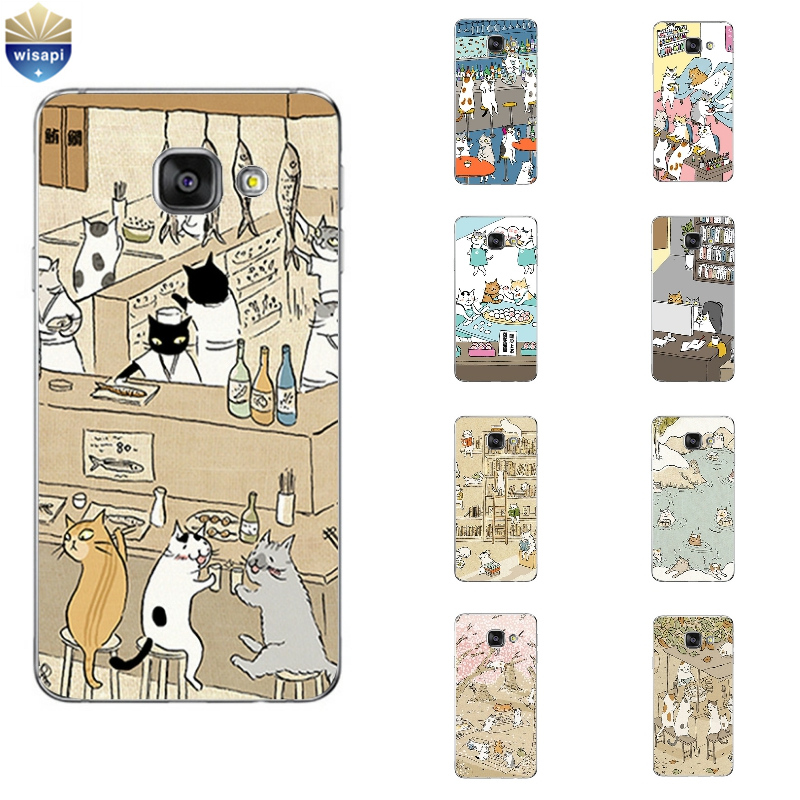 Galleria fotografica Phone Case For Samsung Galaxy A3 A5 A7 (2016) A8 A9 Back Cover Note 4 5 TPU Shell Cellphone Cute Cat Drinking Design Painted