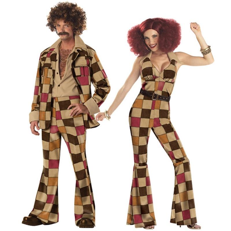 Mens Womens 60s 70s Retro Disco Fance Dress Adult Hippy Hippie Groovy Dancer Costume Jumpsuit Jacket