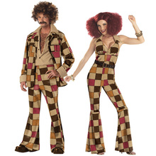Mens Womens 60s 70s Retro Disco Fance Dress Adult Hippy Hippie Groovy Dancer Costume Jumpsuit Jacket