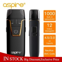 In Stock Electronic Cigarette Aspire Nautilus AIO kit Built in 1000mAh battery 4.5ml/2.0ml Capacity Pod Vape Kit pk breeze 2 New