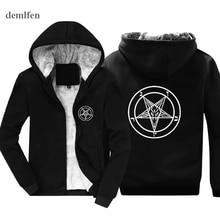 Zimowy Pentagram gotycki okultystyczny szatan moda męska bluzy człowiek bluza z kapturem Hip hopowa kurtka topy Harajuku Streetwear