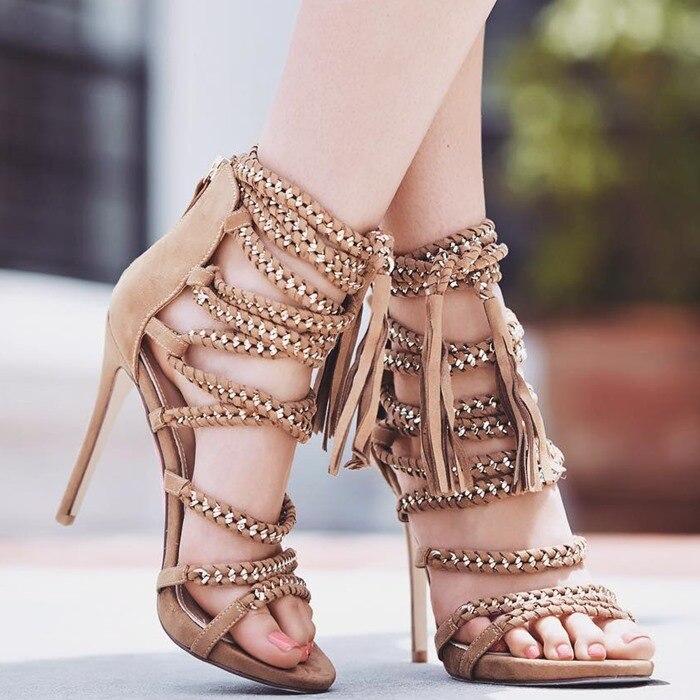 Senhoras Na Moda Cadeia Embellished Vestido de Sandálias de Dedo Aberto Borla Sandálias Gladiador Vermelho Franja Preta Com Tiras Partido Sapatos Dropship - 2