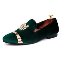 Harpelunde Men Wedding Shoes Slip On Green Velvet Slippers Gold Metal Circle Flat Shoes Size 7