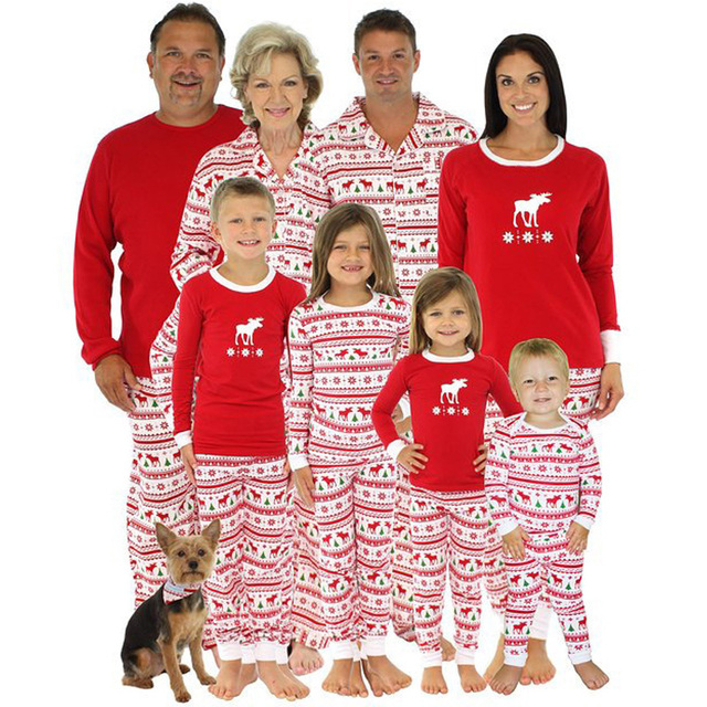 100% Cotton Christmas Costume Men Women Print Home Wear Pajamas Sets Family Matching Outfits Children Baby Clothing Sleepwear