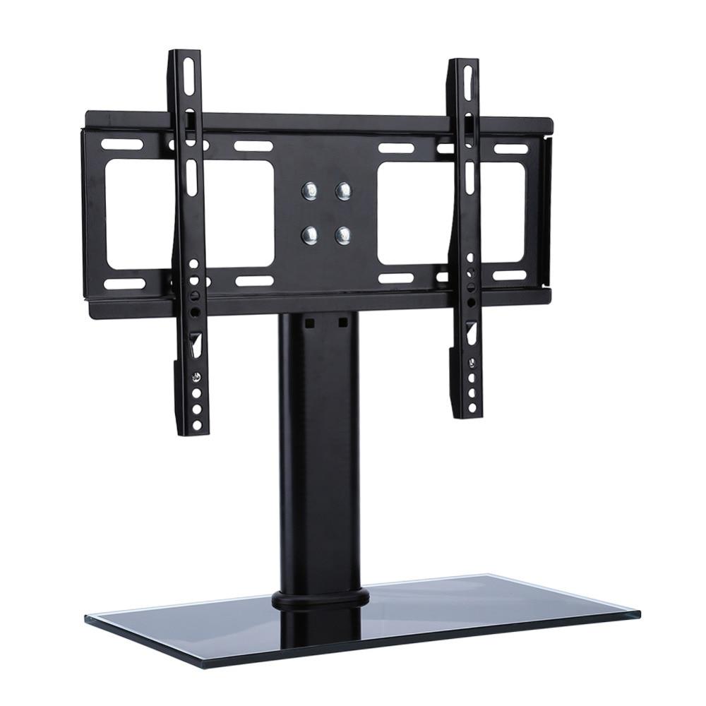 tv wall mount brackets metal shelf bracket lcd tv stand mount bracket black glass base 26 32. Black Bedroom Furniture Sets. Home Design Ideas
