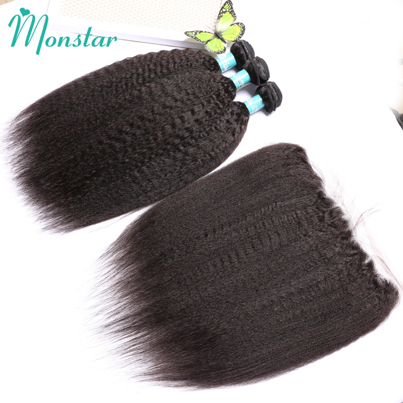 Monstar Unprocessed Peruvian Hair Bundles with Lace Frontal 12 - 30 Inch Human Hair Weave Kinky Straight with Frontal Closure