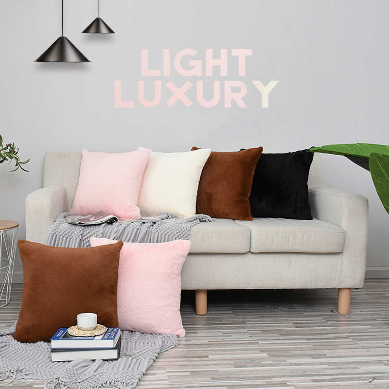 Soft Velvet Cushion Cover Home Decor For Sofa Pink White Black Pillow Case 45 45cm Throw Pillow Cover Home Car Decoration Maison in Cushion Cover from Home Garden