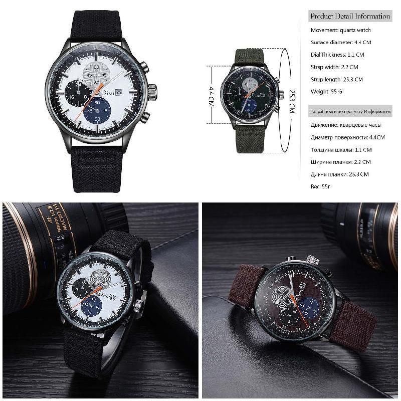 Fashion Men Quartz Watch Big Rond WatchFace Cloth Strap Circular Dial Clock Wristwatch Business Man Casual Watches @17 L