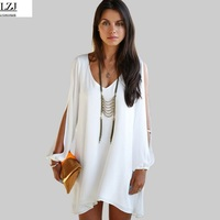 LZJ Ladies Beach Dress Fluorescent Summer Dress Chiffon Women Women 2017 Summer Style Vest To Increase