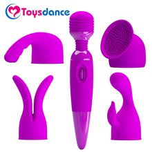 Wand Vibrator With Silicone Caps Multi-speed Vibrating Dildo Body Massager G-spot/Clitoral/Nipple Stimulation Orgasm Massager