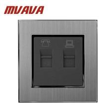 MVAVA TEL + Data Socket 110-250V Brushed Metal UK EU Standard RJ11 Telephone and RJ45 Lan Cable Jack TEL&PC Wall