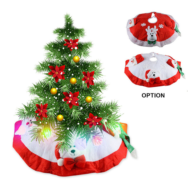 Christmas Tree Stand Mat With Flashing Lights Santa Claus Tree Skirt With  Light Snowman Deer Pattern