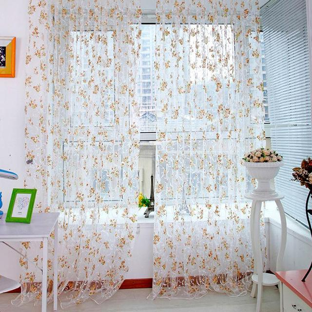Trendy Fl Voile Tulle Window Curtain 1x2m Sheer Panel D Curtains For Living Room