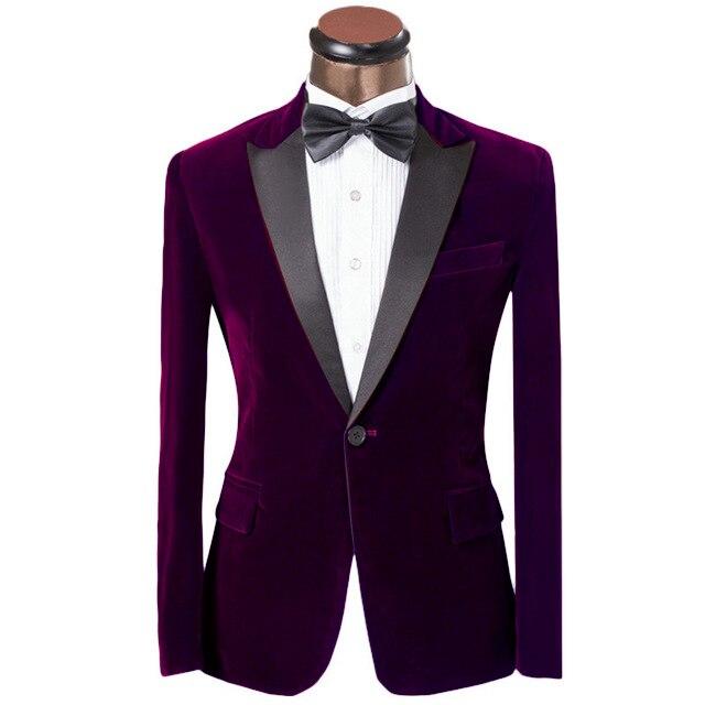 Nueva llegada púrpura terciopelo Mens fiesta traje novio esmoquin padrinos  de boda trajes para hombres con 29df2db41f8e