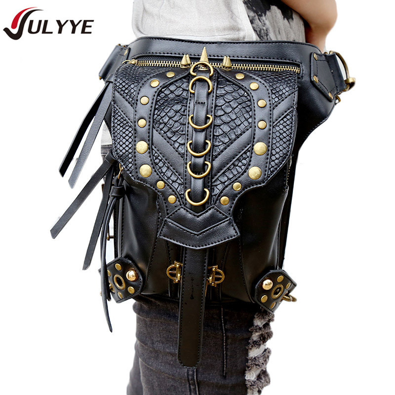 YULYYE New High Quality Riveting Bag Unisex Rider Drop Leg Bag Cool Punk Bags Multifunction Vintage Cowboy Style PU Leather Bag цены