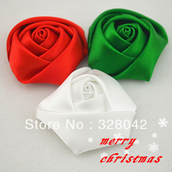 Trail order satin ribbon rosettes rose flower DIY  handmade flower dress/hair accessories 100pcs/lot