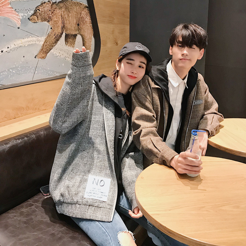 2018 Hot Sale Autumn And Winter Couple Models Thousand Bird Plaid Woolen Jacket Thick Quilted Hooded Jacket Male Gray / Khaki