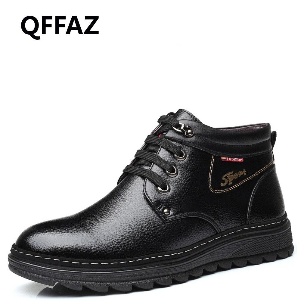QFFAZ Men Fashion Winter Boots Men Genuine Leather Wool Inside Warm with Fur Plush Men Shoes Ankle Men Boots