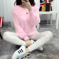 2016 New Winter Sweater Imitation Mink Cashmere T Shirt Sweater Set Color Female Head Thickened Ladies