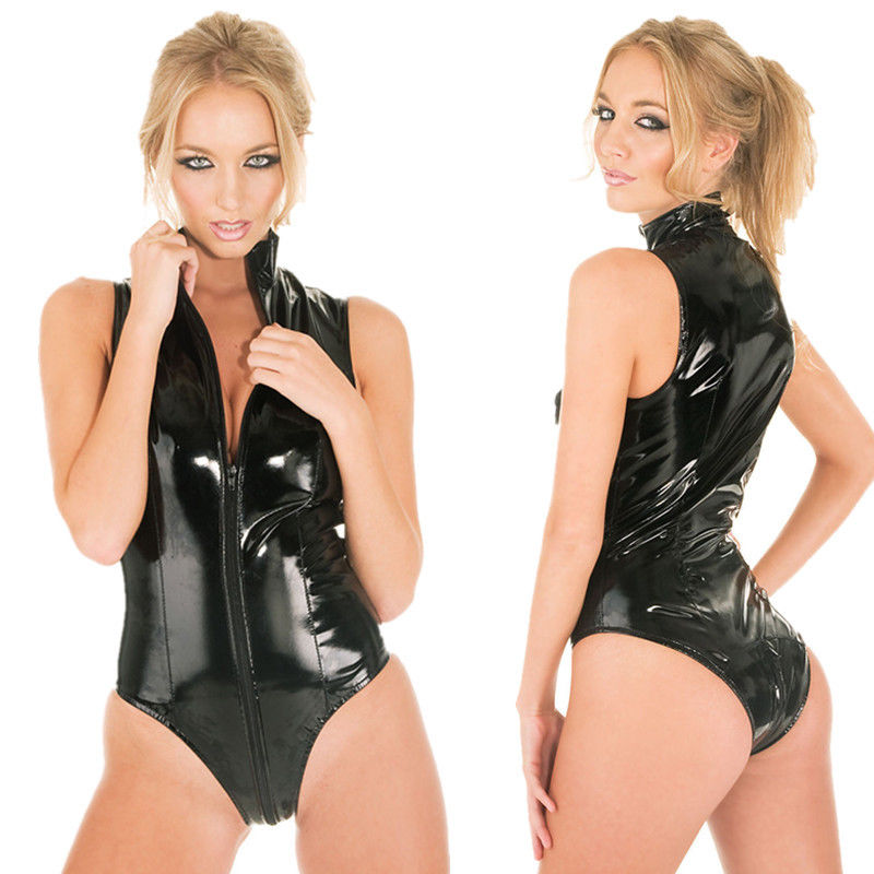 Buy 2017 NEW Sexy Ladies Latex Catsuit Black Faux Leather Bodysuit Open CROTCHLESS Wet-Look PVC Fancy Jumpsuit Dress S-XXL