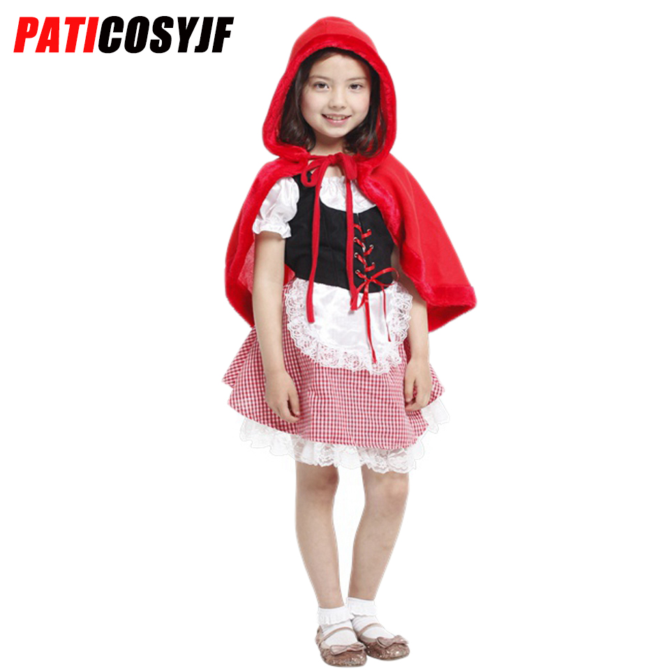 Halloween Cosplay Girls Red Riding Hood Costume Party Role Play Dress Up Fairytale Fancy Dress Costumes For Kids