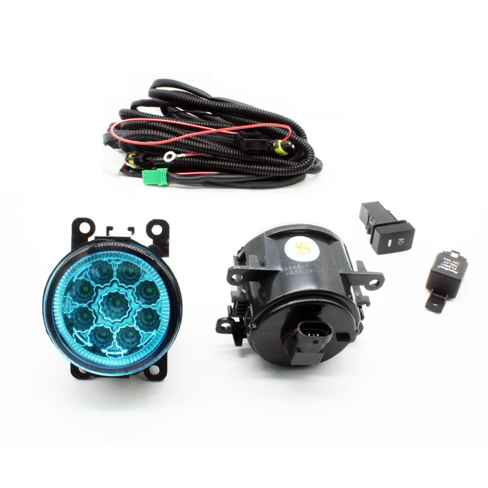 H11 Wiring Harness Sockets Wire Connector Switch + 2 Fog Lights DRL Front Bumper LED Lamp Blue Lens For Peugeot 207 SW Estate for vauxhall astra mk iv g 98 05 h11 wiring harness sockets wire connector switch 2 fog lights drl front bumper led lamp
