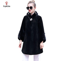 2017 New Fashion Women Winter Real Fur Coat Fur Collar Jackets Female Warm Middle Long Parkas Black Wine Red PQ156