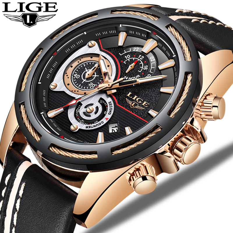LIGE Creative Quartz Men Watch Reloj Hombre Leather Chronograph Army Military Sport Watches Men Clock Hour Relogio Masculino BOX цена 2017
