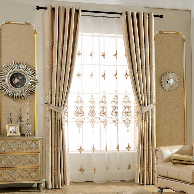 Modern Embroidery Drapes Bedroom Curtains Blackout Curtain And Tulle