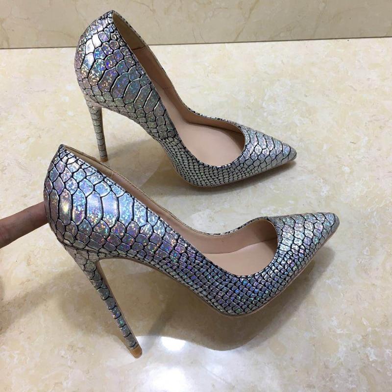 2018 새로운 스타일 크기 35 43 높은 굽된 숙 녀 펌프 얕은 지적 발가락 여자 신발 파티 신발 슬립에 pu 가죽 결혼식 신발-에서여성용 펌프부터 신발 의  그룹 2