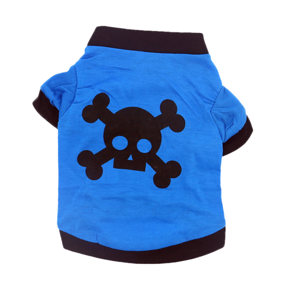 Dog Clothes For Small Dogs Pet Products Clothing Pet Dog Spring And Summer T-shirt Blue Skull Head Halloween Pumpkin Clothing