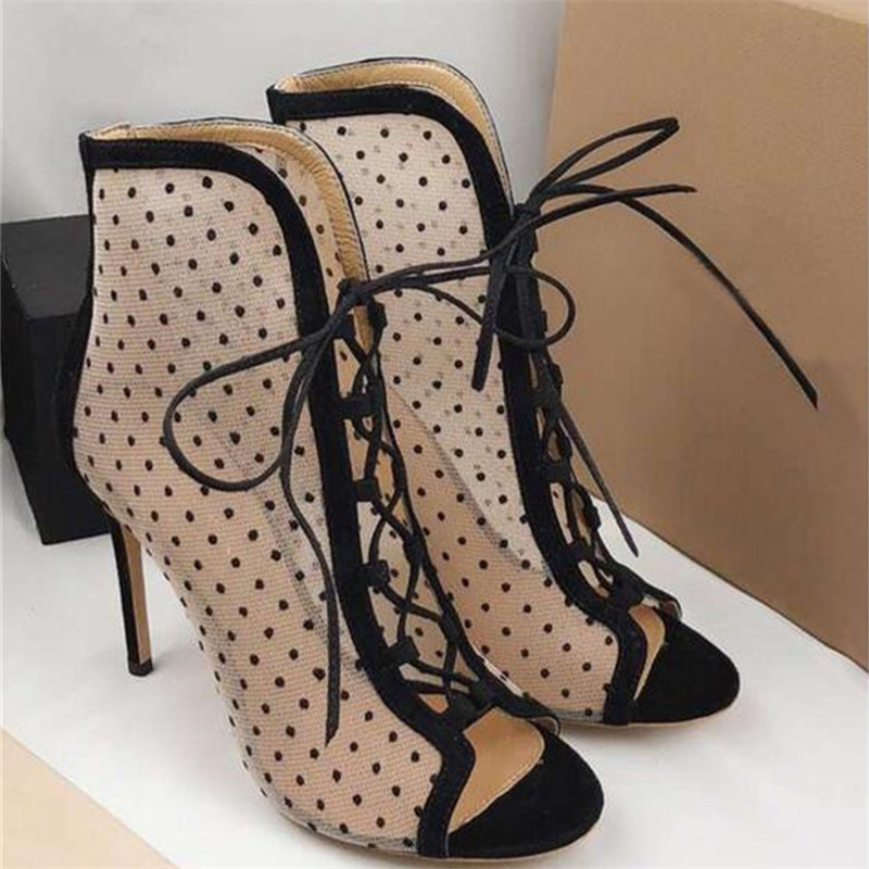 e90dc76d029c Ivy Mesh Suede Ankle Booties Lace Up Peep Toe Summer Boots Dot Women Shoes  Sexy High Heels Party Wedding Ladies Sandalias Mujer