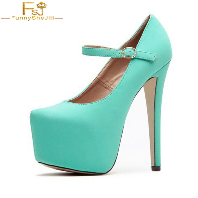 b9089a3cfb4 US $57.74 25% OFF|FSJ Autumn Spring Elegant Womens Turquoise Mary Jane  Pumps Platform Supper New Brand High Heel Shoes Dress Work Woman Size 42-in  ...