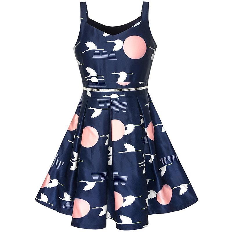girls dress navy blue school uniform tank dress pleated hem 2018 summer princess wedding party