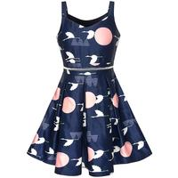 Girls Dress Navy Blue School Uniform Tank Dress Pleated Hem 2017 Summer Princess Wedding Party Dresses