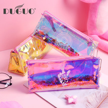 DUGUO cute stationery heart laser pencil bag simple transparent flow sequin case creative student