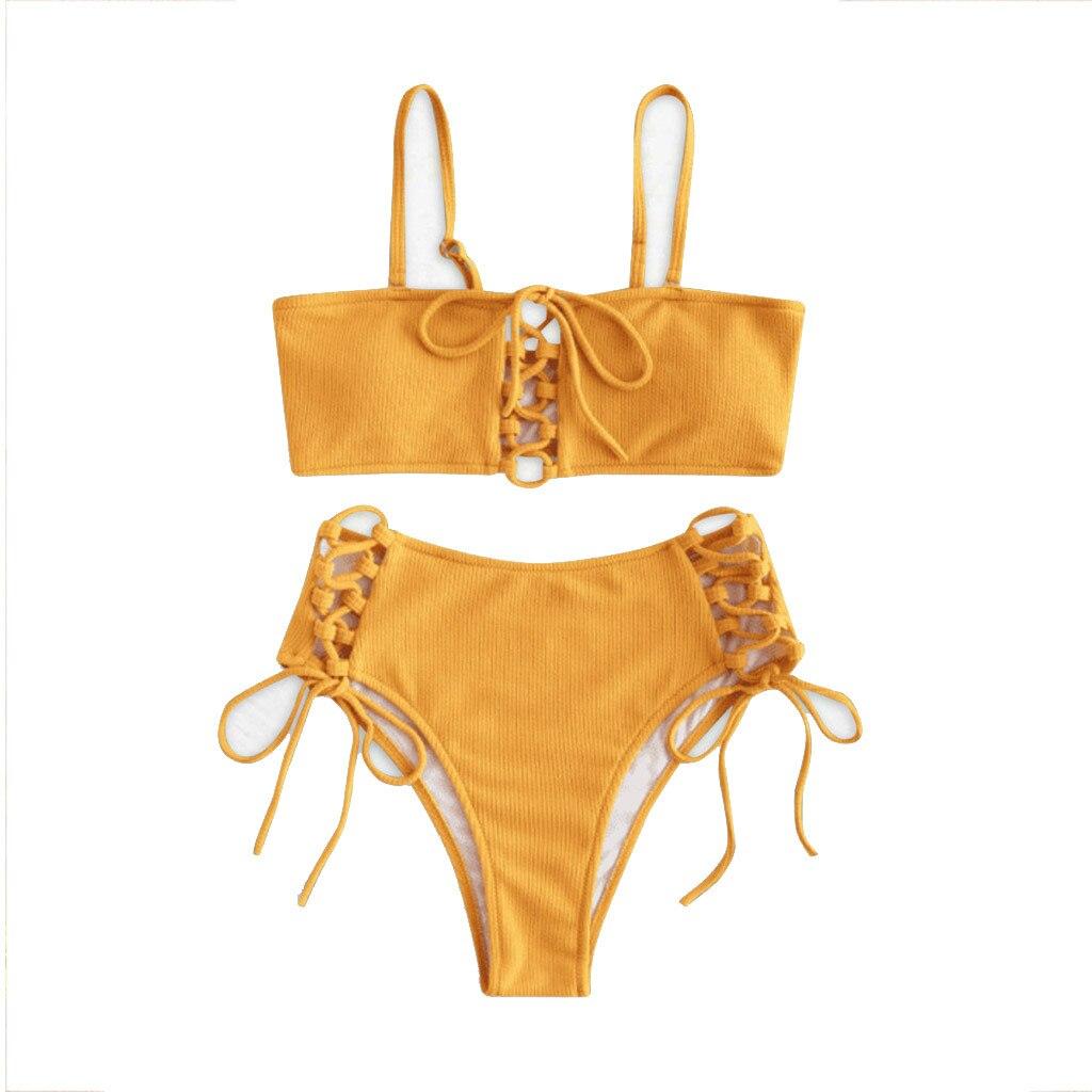 2019 Women Sexy Two Piece Suit Bikinis Beachwear Swimsuit Swimwear Bather Monokinis Bikinis Set Biquini Swimsuit Female L30225