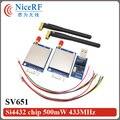 NiceRF 2 unids/lote 433 MHz Interfaz RS232 kit del módulo de transceptor inalámbrico SV651 con antenas y tablero puente usb