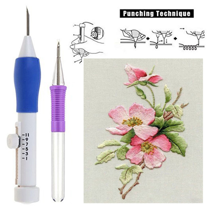 2018 Fashion Magic Embroidery Pen Punch Set Tool Kit With Scissors Embroidery Applique For Women Mom Embroidery DIY Craft Tools (4)