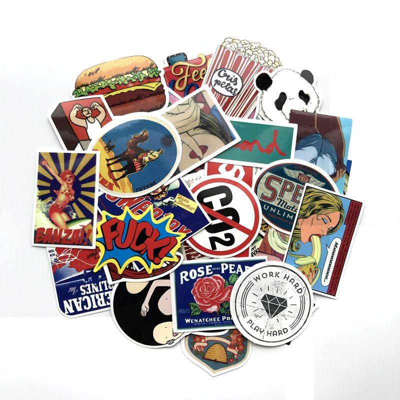Toys & Hobbies ... Classic Toys ... 32663385532 ... 4 ... TD ZW  50pcs Random Mixed Sticker for Snowboard Laptop Luggage Car Fridge Car- Styling Vinyl Decal home decor Stickers Pegatinas ...